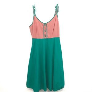 ModCloth peach and green sundress size Med